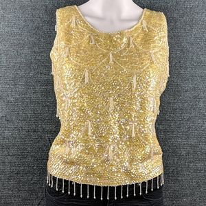 Vintage 60's Sequined Beaded Sweater Tank Top EUC!